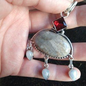 Jewelry - Sale!!!Picture jasper garnet stamped 925 pendant